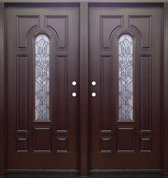 Dark Walnut Double Exterior Fiberglass Entry Door FM 280