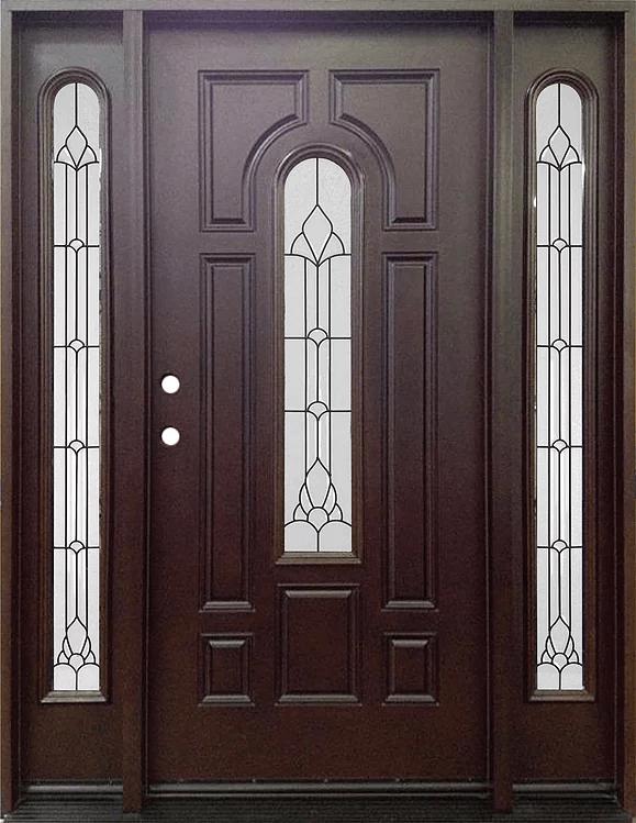 Fm 280 Dark Walnut Single Exterior Fiberglass Entry Door Two