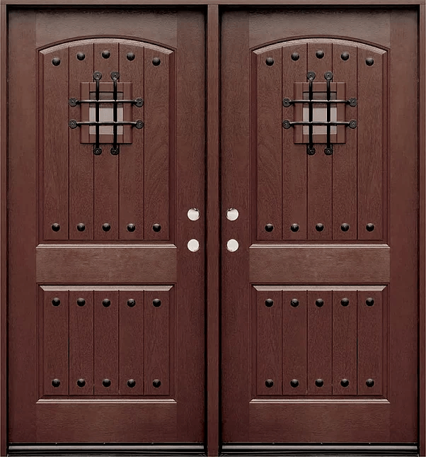 Fm200w Dark Walnut Double Exterior Fiberglass Door