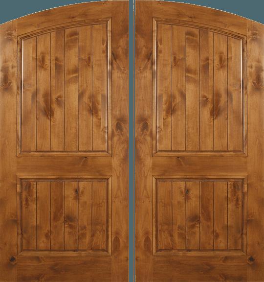 Knotty Alder Double Wood Exterior Door Plain Plank ARA662P