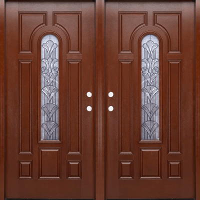 FM 280 Mahogany Double Exterior Fiberglass Entry Door