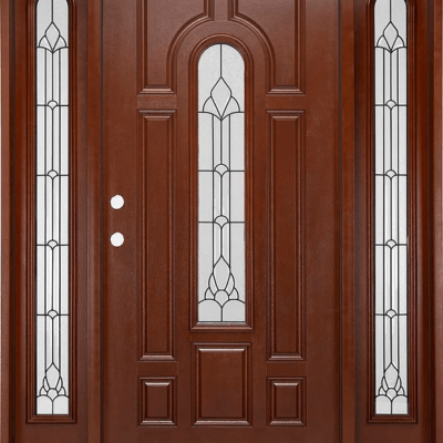 Fm200w Mahogany Single Exterior Fiberglass Door Two Sidelites
