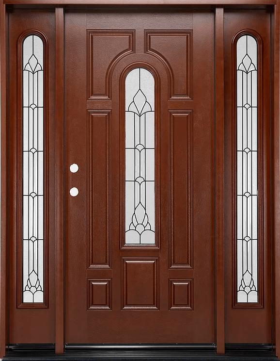 Fm 280 Mahogany Single Exterior Fiberglass Entry Door Two