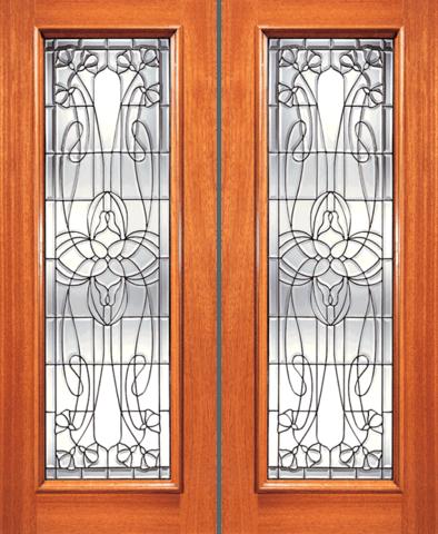 I Series Mahogany Beveled Glass Wood Exterior Door