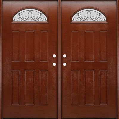 Fm 280 Dark Walnut Double Exterior Fiberglass Entry Door Jeunesse