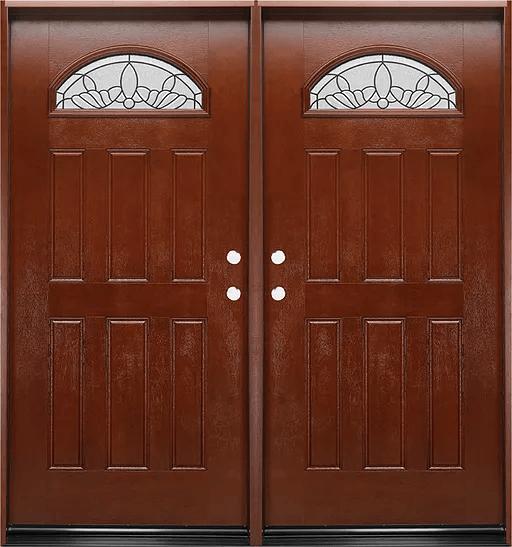 Fm 285 Mahogany Exterior Fiberglass Double Door Jeunesse