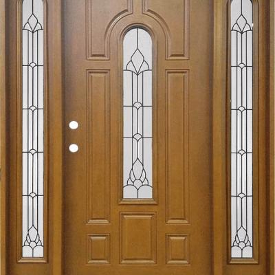 FM 280 Medium Walnut Single Exterior Fiberglass Entry Door Two Sidelites & Single Doors w/ Sidelite Archives - Jeunesse Wood Door Inc ...