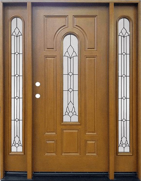 Fm 280 Medium Walnut Single Exterior Fiberglass Entry Door Two