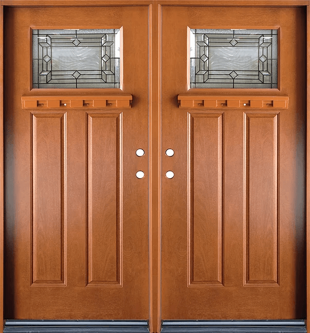 Fm300 Medium Walnut Double Exterior Fiberglass Door