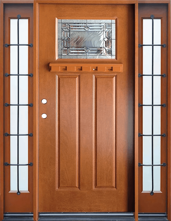 Single Fiberglass Door : Fm medium walnut single exterior fiberglass door two