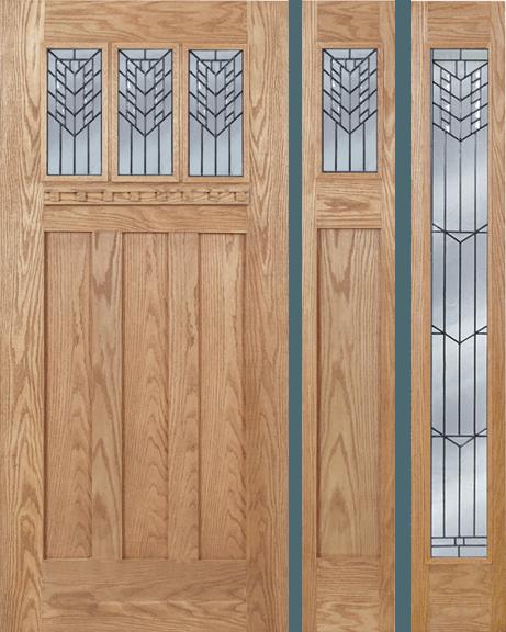 Oak Craftsman Single Wood Exterior Door OC633E