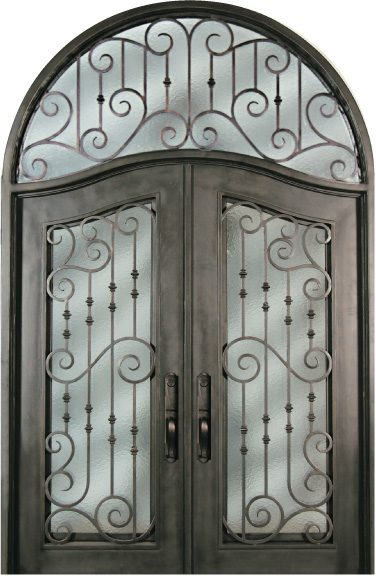 Sr516whxxt 64 Steel Deluxe Transoms Double Exterior Iron Entry Doors