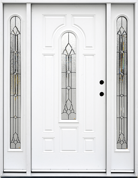 Single Fiberglass Door : Fm white single exterior fiberglass entry door two