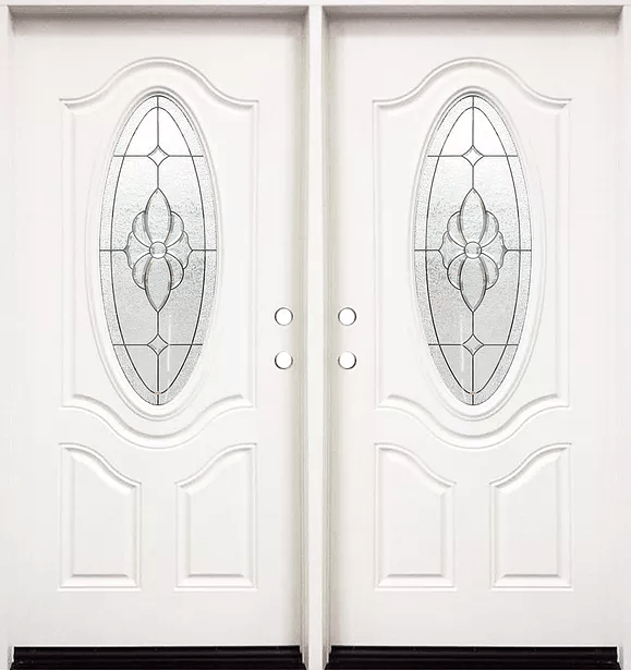 Fm800 White Double Exterior Fiberglass Entry Door Jeunesse Wood