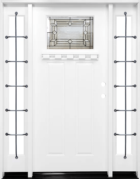 Fm300 White Single Exterior Fiberglass Door Two Sidelites